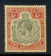 Bermuda 1910-1925 5/- Red & Green On Yellow KGV Head Wmk Crown CA (tones) MLH - Bermuda