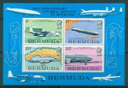 Bermuda 1975 Airmail Service 50th Anniv. MS MUH - Bermuda