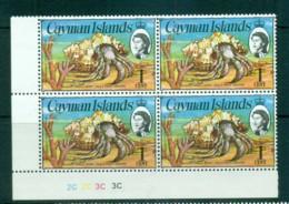 Cayman Is 1974-75 1c Hermit Crab Defin Pl. Blk 4 MUH Lot72527 - Cayman Islands