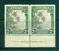 Jamaica 1934 2d Coco Palms At Columbus Cove Imprint Pair MLH Lot55201 - Jamaica (1962-...)