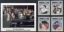 Jamaica 1985 Queen Mother 85th Birthday + MS MUH - Jamaica (1962-...)