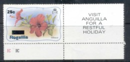 Anguilla 1984 Flower, Hibiscus Surch 25c MUH - Anguilla (1968-...)