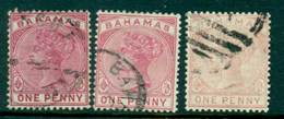Bahamas 1884 1d Rose, 3 Shades SG347-8-9 FU Lot29304 - Bahamas (1973-...)