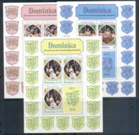 Dominica 1978 QEII Coronation 25th Anniversary 3xsheetlet MUH - Dominica (1978-...)