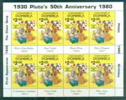 Dominica 1981 Disney, Pluto's 50th Anniv Sheetlet MUH Lot77474 - Dominica (1978-...)