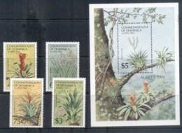 Dominica 1984 AUSIPEX Flowers + MS MUH - Dominica (1978-...)