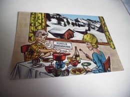 BELLE ILLUSTRATION HUMORISTIQUE .....SLA RECETTE D'UNE FONDUE BOURGUIGNONNE - Recipes (cooking)