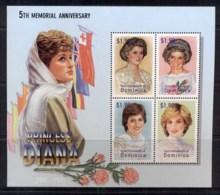 Dominica 2003 Princess Diana In Memoriam 5th Anniv. Sheetlet MUH - Dominica (1978-...)