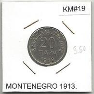 Gh2 Montenegro 20 Para 1913. KM#19 - Monnaies