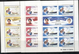 St Kitts 1981 Royal Wedding Charles & Diana 3xsheetlet MUH - St.Kitts And Nevis ( 1983-...)