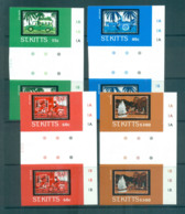 St Kitts 1985 Batik Designs IMPERF Gutter Pairs MUH Lot68627 - St.Kitts And Nevis ( 1983-...)