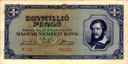 HONGRIE 1000000 PENGO Du 16-11-1945  Pick 122  AU/SPL - Hongrie