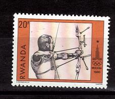 RWANDA   N° 937  * *   JO 1980  Tir A L Arc - Archery