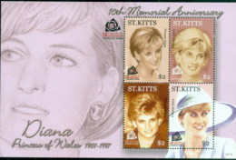St Kitts 2007 Princess Diana In Memoriam, 10th Anniv., A Beautiful Princess Lost MS MUH - St.Kitts And Nevis ( 1983-...)