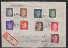 II.WK Ostland R-Brief Kauen 1 SSt Tag Der Briefmarke 11.1.42 Mit MiF 1 Bis 9 Nach Wismar (rs. AK-o) - Occupation 1938-45