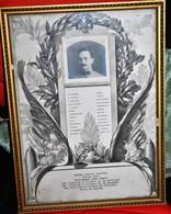 Rare Cadre Diplôme Lieutenant Du 8 ème Génie Avec Photo Guerre 14-18 Format 24 X 32.5 Cm - 1914-18