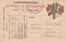 Rare Carte Postale Correspondance Militaire Franchise Militaire Drapeaux Et Tampons - 1914-18