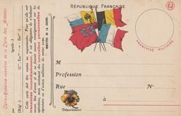 Rare Carte Postale Correspondance Militaire Franchise Militaire Drapeaux Et Pensée Fleur - 1914-18