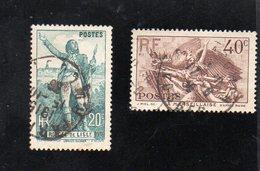 France - 2 Timbres Centenaire De La Mort De Claude Rouget De Lisle N° 314 & 315 - Gebruikt