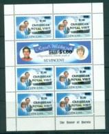 St Vincent 1985 Royal Visit Sheetlet Opts MUH Lot72829 - St.Vincent (1979-...)