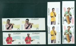 St Vincent 1985 Traditional Instruments IMPERF Pairs MUH Lot68729 - St.Vincent (1979-...)