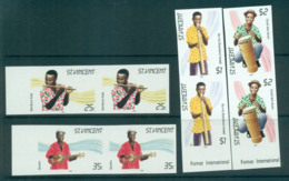 St Vincent 1985 Traditional Instruments IMPERF Pairs MUH Lot68732 - St.Vincent (1979-...)