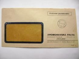 Czechoslovakia Cover 1952 - Postage Prepaid - Jihomoravska FRUTA Narodni Podnik Znojmo - Czechoslovakia