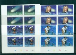 St Vincent 1986 Halley's Comet IMPERF Cyl. Blks 4 MUH Lot68751 - St.Vincent (1979-...)