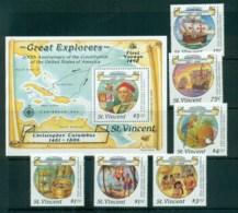 St Vincent 1988 Christopher Columbus + $5 MS MUH Lot72850 - St.Vincent (1979-...)