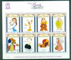 St Vincent 1992 Disney Characters, Beauty & The Beast MS MUH - St.Vincent (1979-...)