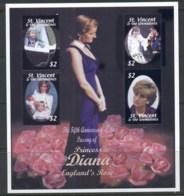 St Vincent 2002 Princess Diana In Memoriam 5th Anniv MS MUH - St.Vincent (1979-...)