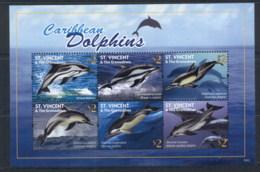 St Vincent 2010 Marine Life, Caribbean Dolphins MS MUH - St.Vincent (1979-...)