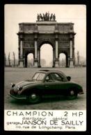 AUTOMOBILES - CHAMPION 2 HP - GARAGE JANSON DE SAILLY, PARIS - VOIR ETAT SCAN RECTO-VERSO - Voitures De Tourisme