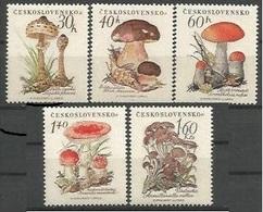 CSR 1958-1101-5 MUSROOMS, CZECHOSLOWAKIA, 1 X 5v, MNH - Czechoslovakia