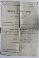 Document WWI Médaille Militaire 87 RI Soldat Melot Alphonse Victor Joseph Izé Tué En 1915 à Tahure Mort Pour La France - Documents