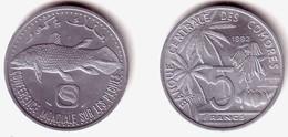 COMOROS, Islamic Republic - 5 Francs 1992 F.A.O. FISHERIES - KM#15 Unc - Comores