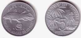 COMOROS, Islamic Republic - 5 Francs 1992 F.A.O. FISHERIES - KM#15 Unc - Comorre