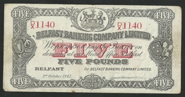NORTHERN IRELAND 5 POUNDS 1942 BELFAST BANKING COMPANY LTD P# 127b VF  RARE - [ 2] Irlanda Del Norte
