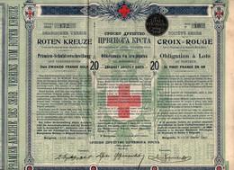TITRE ACTION OBLIGATION SOCIETE SERBE CROIX ROUGE VINGT FRANCS OR BELGRADE 1907 - Autres