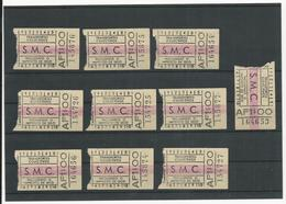 10 Tickets * Transportes Colectivos S.M.C. (Coimbra????) * Portugal - Chemins De Fer