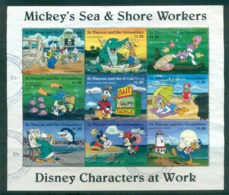 St Vincent Grenadines 1996 Disney, Characters At Work, Sea & Shore $1.20 Sheetlet FU Lot79393 - St.Vincent & Grenadines