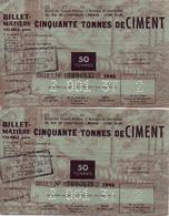 BILLET MATIERE CINQUANTE TONNES CIMENT 1946 TICKET RATIONNEMENT ECONOMIE GUERRE - France