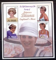 St Vincent Grenadines 2003 Princess Diana In Memoriam 5th Anniv. Sheetlet MUH - St.Vincent & Grenadines
