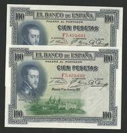 SPAIN 100 PESETAS 1925 PICK-69 UNC Pair Consecutive Numbers - [ 2] 1931-1936 : Repubblica