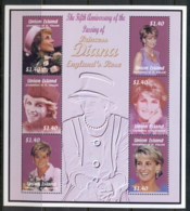 St Vincent Union Is 2002 Princess Diana In Memoriam 5th Anniv. MS MUH - St.Vincent & Grenadines