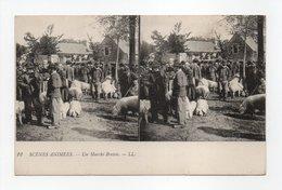 - CPA STEREOSCOPIQUES - SCENES ANIMEES - Un Marché Breton - Edions Lévy N° 12 - - Stereoscope Cards