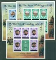 Caicos Is 1981 Charles & Diana Wedding Upper Case Changed Colours 3x Sheetlets MUH Lot44886 - Turks And Caicos