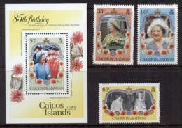 Caicos Is 1985 Queen Mother 85th Birthday + MS MUH - Turks E Caicos