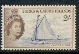 Turks & Caicos Is 1957-60 QEII Pictorial, 2/- Caicos Sloop MLH - Turks And Caicos