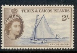 Turks & Caicos Is 1957-60 QEII Pictorial, 2/- Caicos Sloop MLH - Turks E Caicos